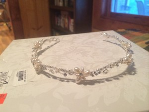 BHLDN Silver Pearls Rhinestones Hairpiece Hair Accessory