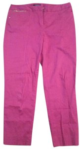 Jones New York Pink Slacks Leg Gold Straight Pants Fuschia