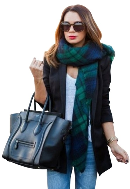 Item - Green Navy Blue New with Tags Plaid Blanket Tartan Scarf/Wrap