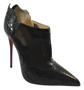 Christian Louboutin Pointed Toe Mesh Lazer Cut Black Boots