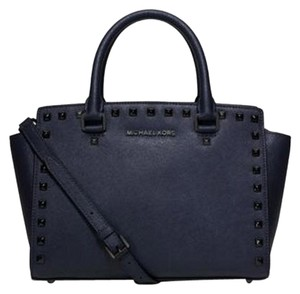 Michael Kors Hamilton French French Binding East West Satchel in Navy Gunmetal