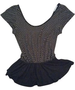 dELiA*s Peplum Polka Dot Top Black and White
