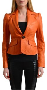 Dsquared2 Orange Leather Jacket