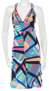 Emilio Pucci short dress Blue, Black, Multicolor Silk Crisscross Strap V-neck Monogram on Tradesy