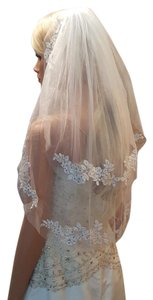 White Bridal Elbow Veil 2 Tiers With Gold Accents /comb Attached