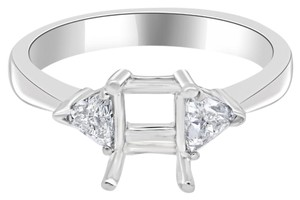 Avi and Co 0.34 cttw Trillion Cut Diamond Accented Engagement Semi-Mounting 14K White Gold