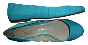 Talbots Made In Brazil Hand Made Upper Ballet Genuine Leather Sole Turquoise Turquoise Blue Flats