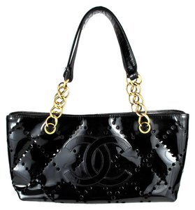 Chanel Patent Leather Chain Tote in Black