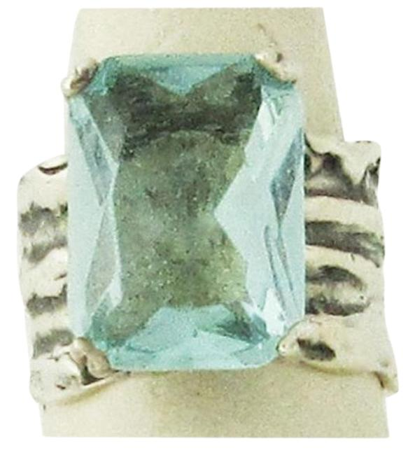Item - Silver and Aqua R1608 Sterling Glass Size 7.5 Ring
