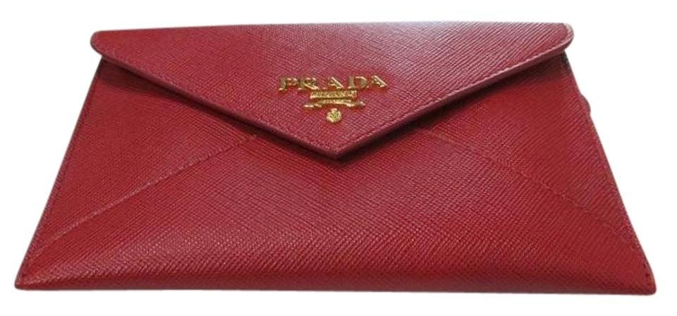 d7603158a69d21 Prada Red Saffiano Metal Gold Leather Pouch Envelope Wallet - Tradesy