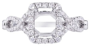 Avi and Co 0.63 cttw Round Diamond Cross Shank Halo Engagement Semi-Mounting 18K White Gold
