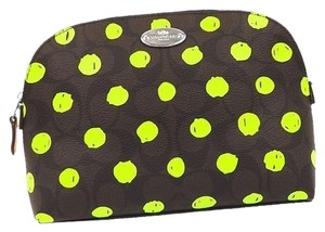 Coach Coach F52701 Brown neon yellow luxury signature dot print cosmetic case