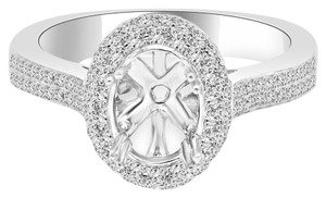 Avi and Co 0.85 cttw Round Cut Diamond Pave Halo Engagement Semi-Mounting 18K White Gold