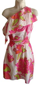 Lilly Pulitzer short dress White Pink Silk One on Tradesy