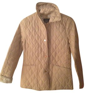 Ellen Tracy Quilted Floral Lining Barn Classic Timeless Lightweight Gold Buttons Outside Beige Jacket