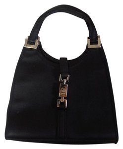 Gucci Designer Satin Small Satchel in black