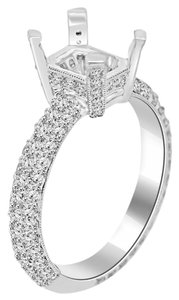 Avi and Co 1.50 cttw Round Diamond Pave Accented Engagement Semi-Mounting 18K White Gold