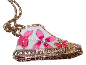 Betsey Johnson Betsey Johnson Sneaker High Top Necklace Pink White Gold Crystals New Long Chain J473