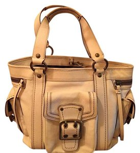 Coach Leather Multi Pockets Satchel in Off White/Yellowish