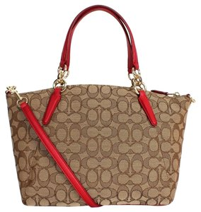 Coach F36625 Kelsey Satchel in IMITATION GOLD/KHAKI/ RED