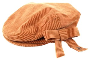 Chanel NEWSBOY HAT - LARGE - ORANGE TAN VELVET CORDUROY SILVER CC LOGO BOW