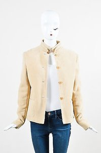 Ralph Lauren Label Suede Shearling Button Down Beige Jacket