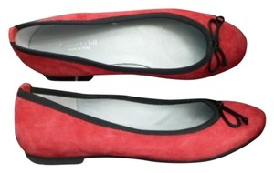 Garnet Hill Suede Genuine Leather Ballerina Made In Italy Red with Black Trim Flats