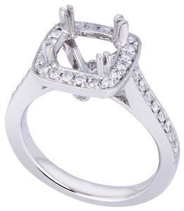 Avi and Co 0.44 cttw Round Diamond Pave Halo Engagement Semi-Mounting 18K White Gold