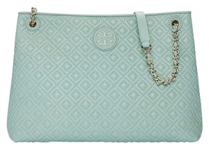 Tory Burch Marion Quilted Leather Purse Summer Tote in Green