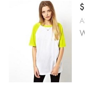 ASOS T Shirt White/Lime