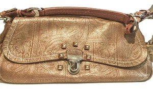Prada Embossed Leather Satchel in Golden tan/copper
