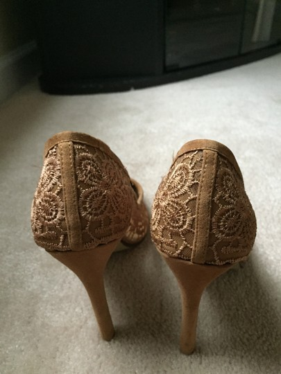 Jeffrey Campbell Lace And Suede Tan Pumps