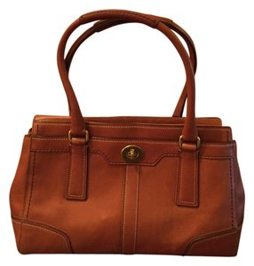 Coach Leather Vintage Expandable Satchel in Caramel Brown