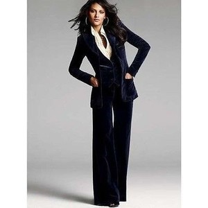 Theory Velvet Tuxedo Trouser Wide Leg Pants Black