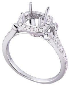 Avi and Co 0.60 cttw Round Cut Diamond Pave Halo Engagement Semi-Mounting 18K White Gold