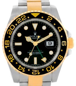 Rolex Rolex GMT Master II Mens Steel Yellow Gold Black Dial Watch 116713LN