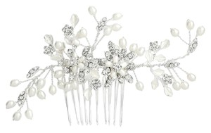 Mariell Freshwater Pearl Wedding Hair Comb With Pave Crystal Leaves 4168hc