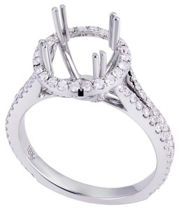Avi and Co 0.60 cttw Round Diamond Halo Split Shank Engagement Semi-Mounting 18K White Gold