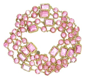 Chanel Vintage Pink Crystal Chicklet Gold Plated Necklace Sautoir