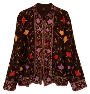 Reckon Classy Casual Elegant Black with Gold, Purple, Green and Red Embroidered Jacket