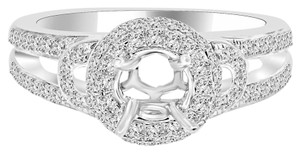 Avi and Co 1.15 cttw Round Cut Diamond Pave Halo Engagement Semi-Mounting 14K White Gold