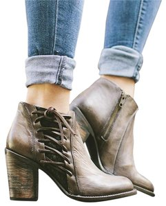 FreeBird By Brook Leather Lace Up Ankle Stone Boots