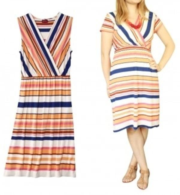 Merona short dress Orange,navy blue, white, coral and brick red stripes Sun on Tradesy