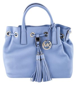 Michael Kors Camden Drawstring Leather Satchel in Blue