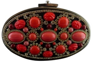 Moo Roo Embellished Crystals Evening Black/Red Coral/Silver Clutch