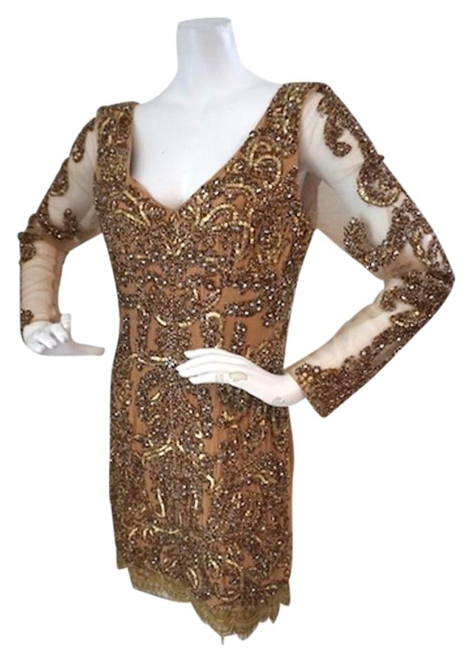 cf3dd3f4d135 Neiman Marcus Gold Beaded Evening Cocktail Party Sheath Mid-length ...