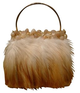 Moo Roo Embellished Crystals Feathers Evening Unique Blonde/Gold/Peach Clutch