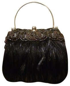 Moo Roo Embellished Crystals Beaded Wristlet in Black/Bronze