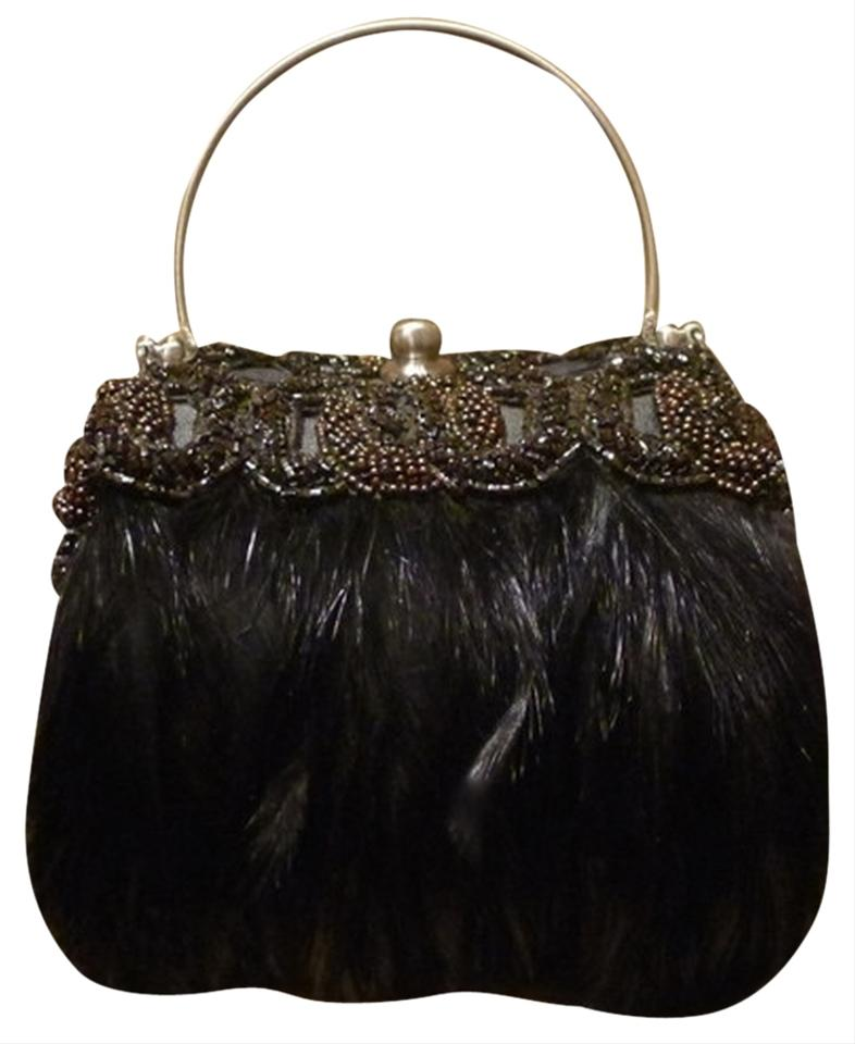 Moo Roo Embellished Crystals Beaded Evening Feathers Wristlet In Black Bronze