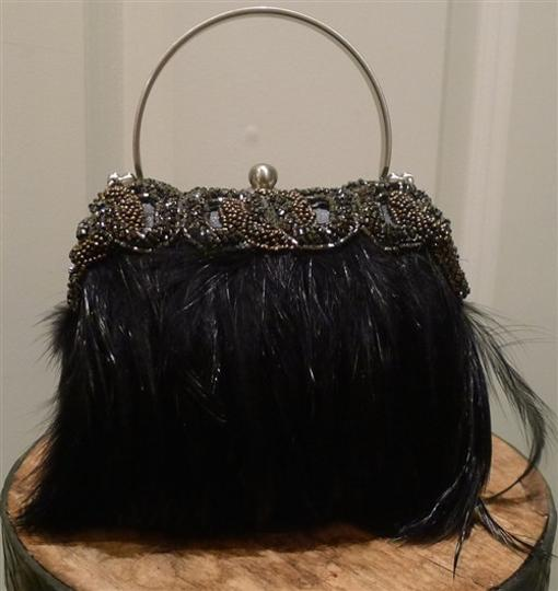 Moo Roo Embellished Crystals Beaded Evening Feathers Wristlet in Black/Bronze